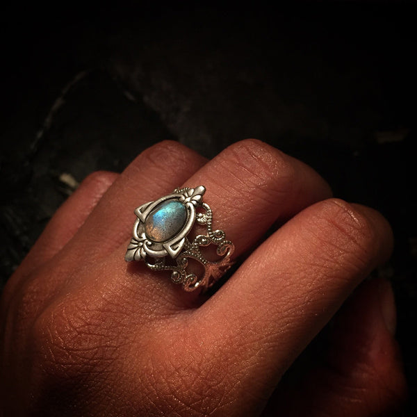 vintage sterling silver plated labradorite ring