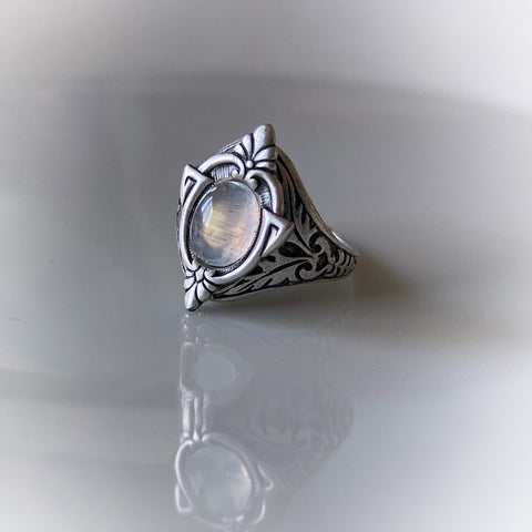 aria silver moonstone ring