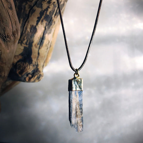 raw kyanite necklace