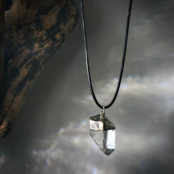 silver raw quartz necklace