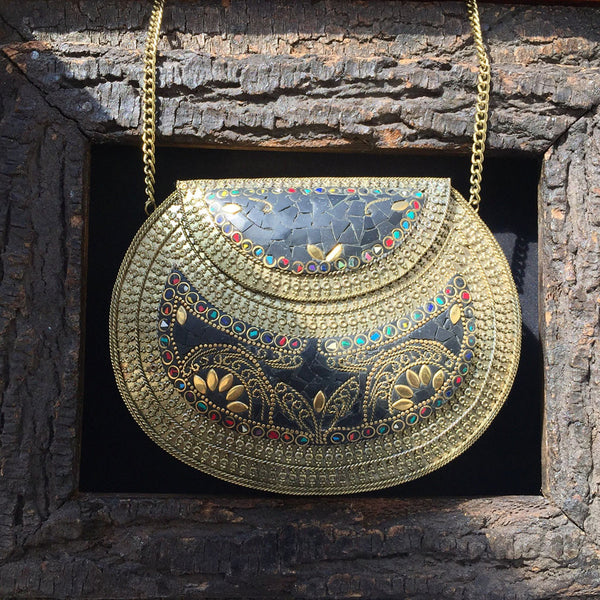 antique metal clutch bag