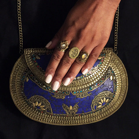 blue metal festival clutch bag