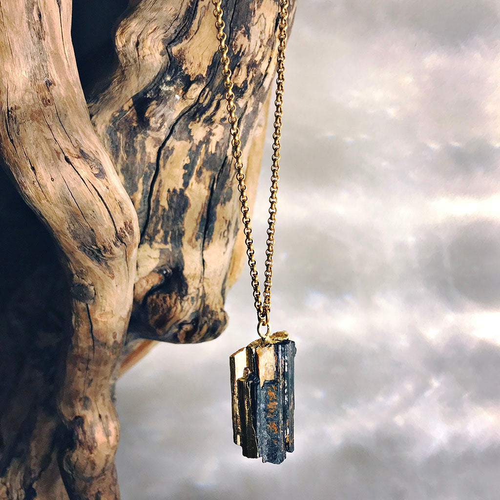 gold dipped tourmaline pendant