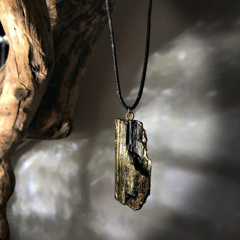 raw tourmaline pendant