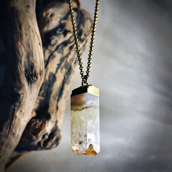 druzy citrine necklace