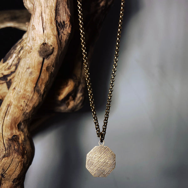 brushed brass octagon necklace