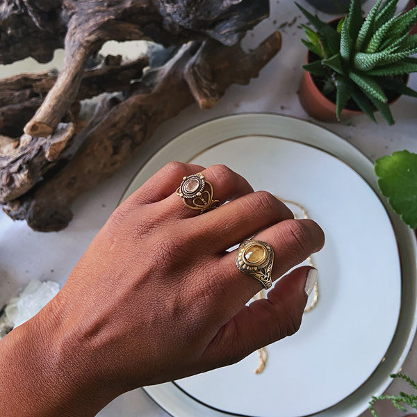 brass gemstone rings