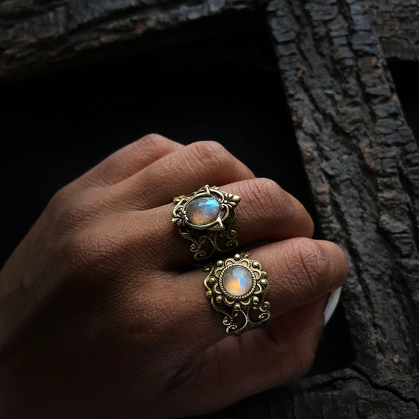 moonstone and labradorite rings