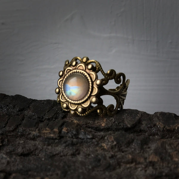 Kiva - rainbow moonstone ring