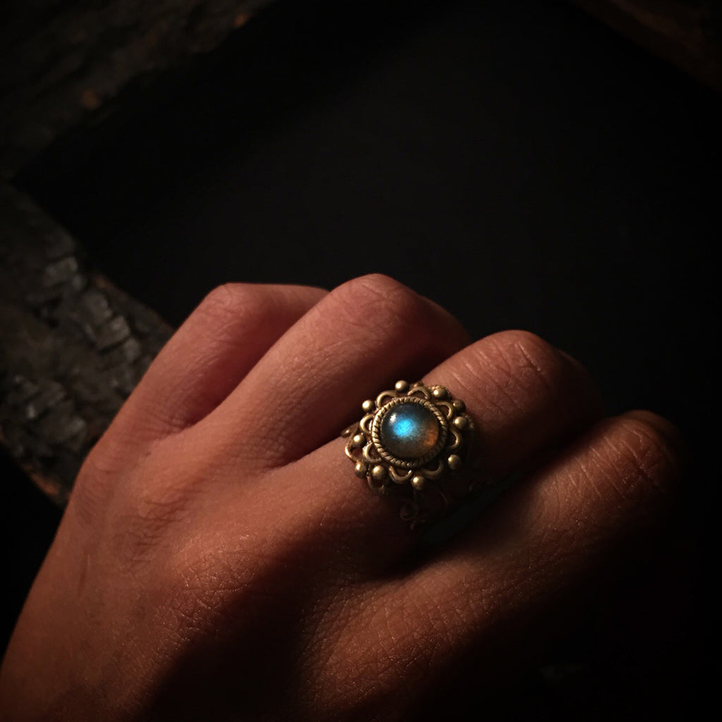 kiva labradorite brass ring