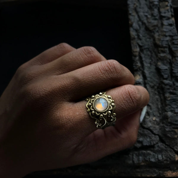 antique brass moonstone ring