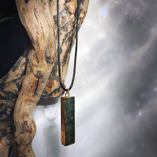 men's black leather labradorite necklace