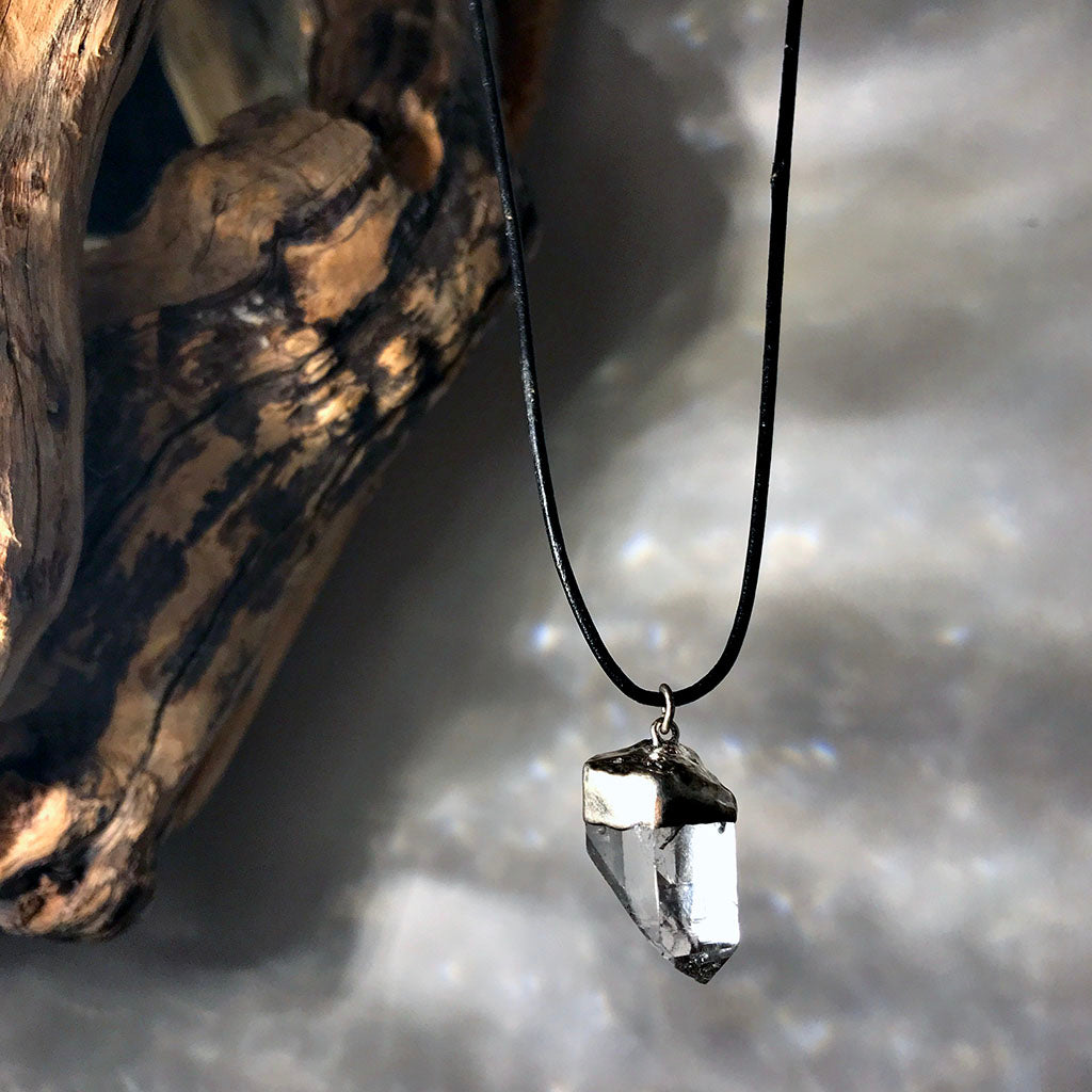 clear quartz leather necklace