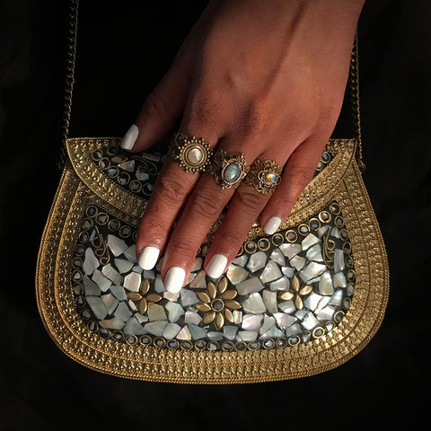 metal pearl bag
