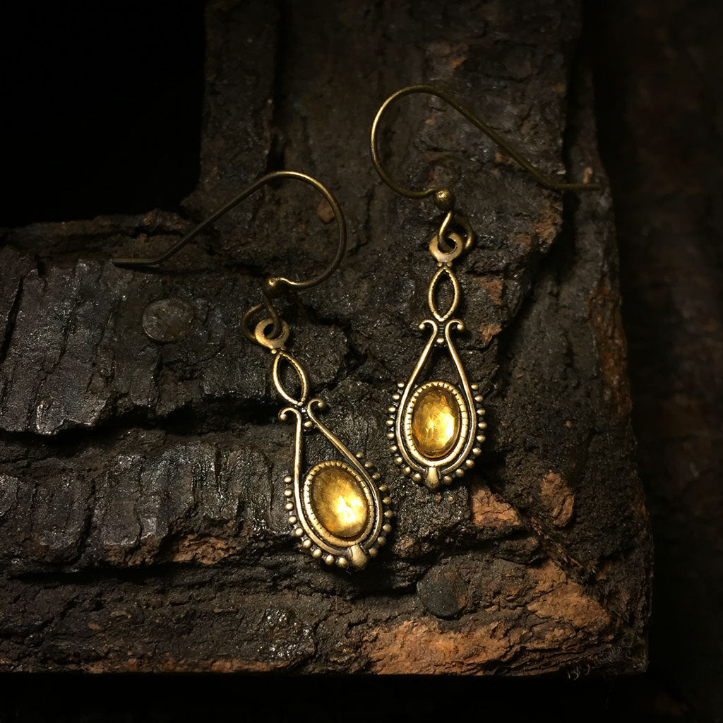 riva antique brass citrine earrings