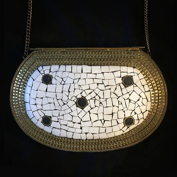 black and white gold metal bag
