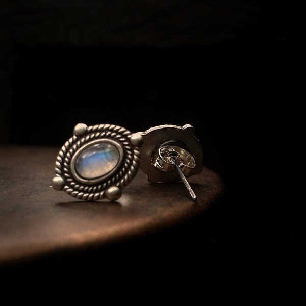 silver antique moonstone studs