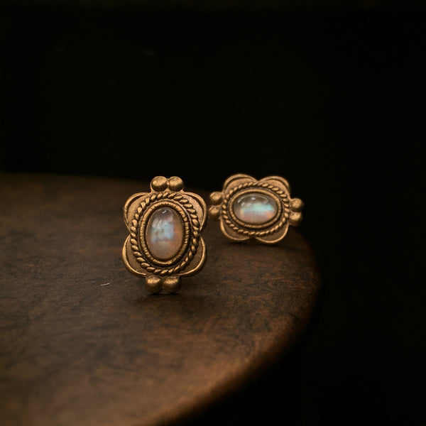 antique moonstone stud earrings