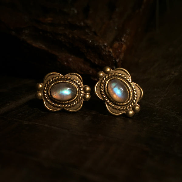 shiva gold moonstone earrings