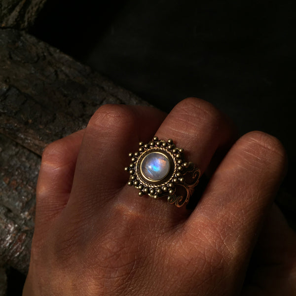 ethnic rainbow moonstone ring
