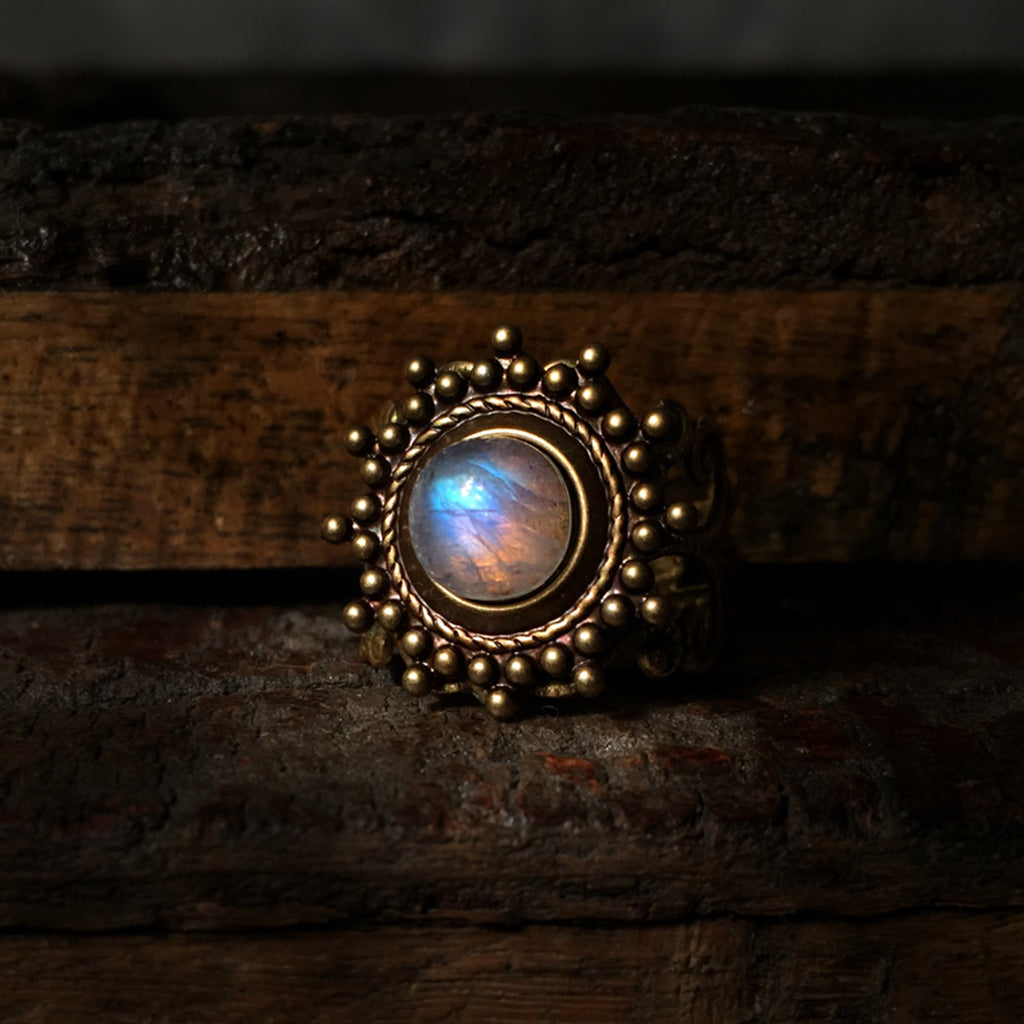 siya brass moonstone ring