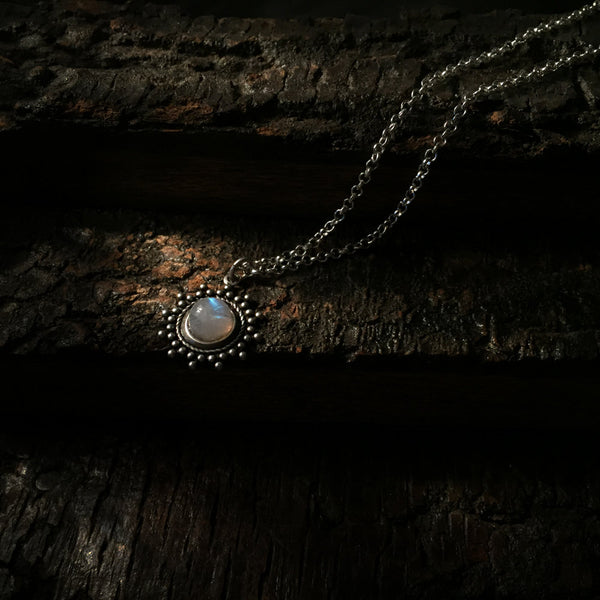 antique rainbow moonstone necklace