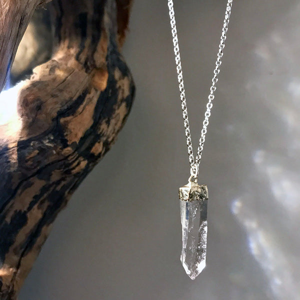 sterling silver quartz necklace