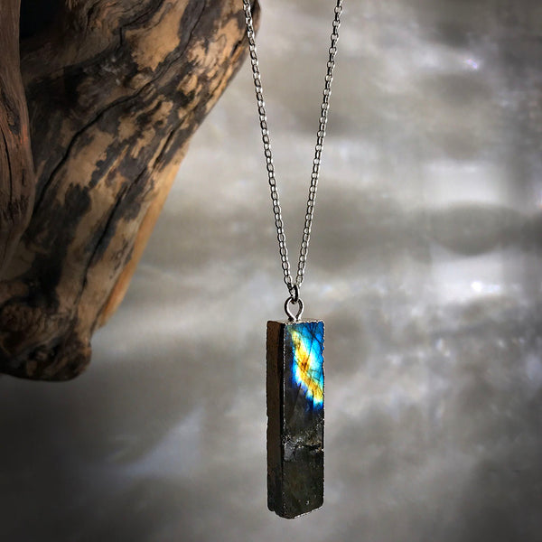 labradorite slice necklace in silver