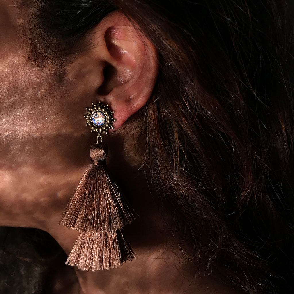 bronze antique tassel earrings