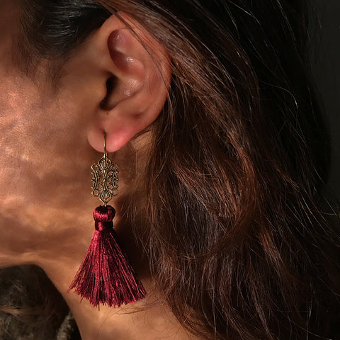 antique red tassle earrings