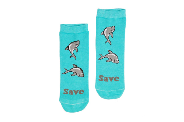 1 PAIR - Blue Save The Dolphins Bamboo Socks