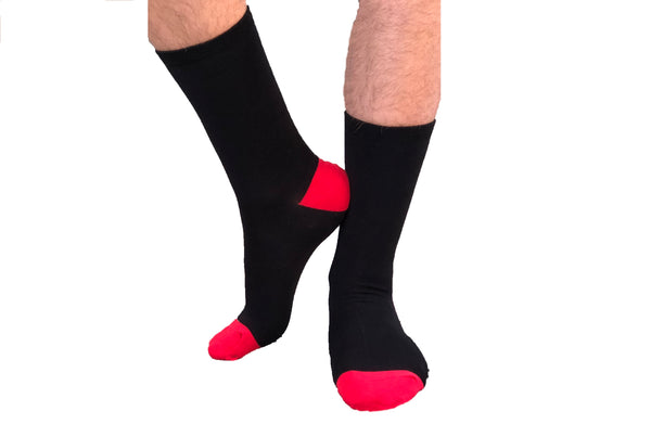1 PAIR - Classic Black & Red Crew