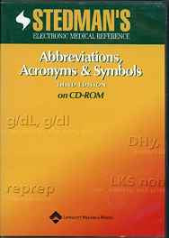 Stedman's Abbreviations Acronyms and Symbols CD-ROM – Import 15 Jun 2003-sanapalas