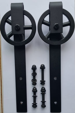 Barn Door Wheel & Bracket Assy Only - Vintage look 120mm Aluminium Spoke Wheel - Aluminium Flanges
