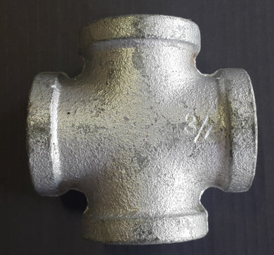 Cross Galv Fitting - 20mm - Aluminium Flanges