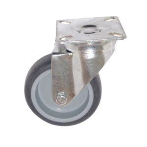 Grey Swivel Castor No Brake (75mm Wheel Dia) - Aluminium Flanges