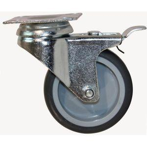 Grey Swivel Castor With Brake (75mm Wheel Dia) - Aluminium Flanges