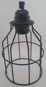 Industrial lamp cage - black coated, black lamp holder & cord grip - Aluminium Flanges