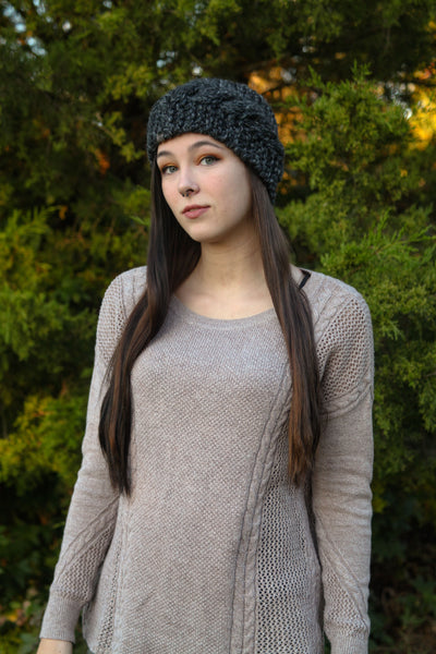 Cabled Ear Warmer in Charcoal Gray