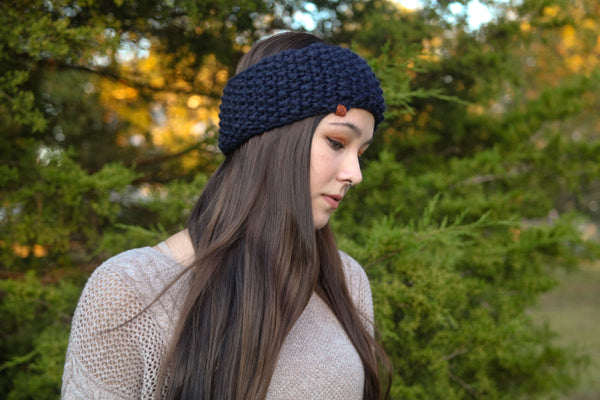 Chunky Ear Warmer in Navy
