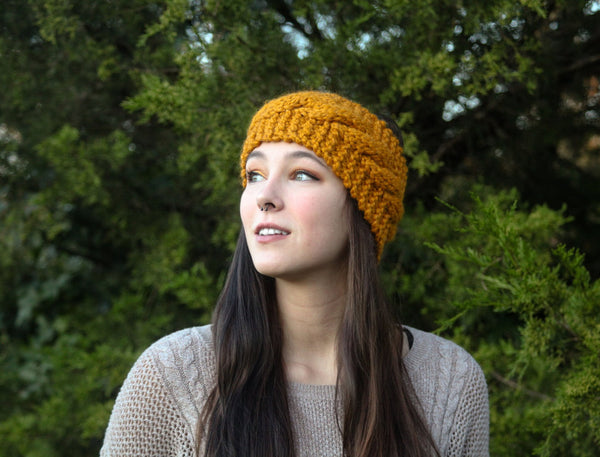 Cabled Ear Warmer in Butterscotch