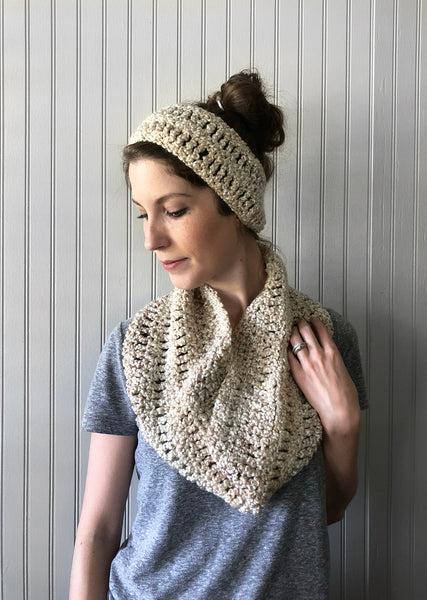 Matching Crochet Cowl and Ear Warmer Set in Oat