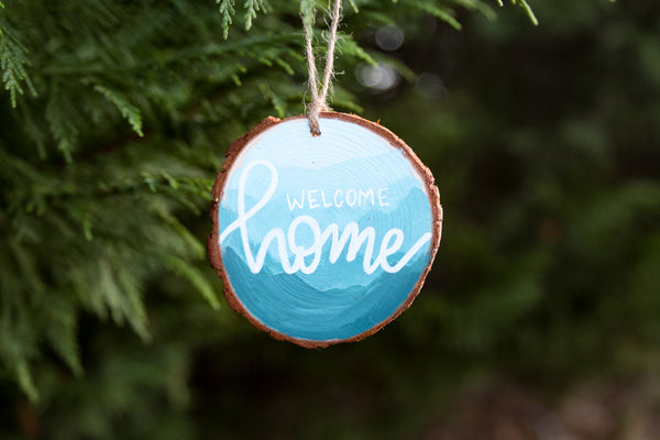 Welcome Home | Mountains Wooden Ornament