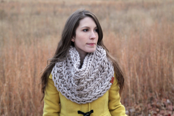 X-Bulky Faux Knit Striped Cowl in Taupe