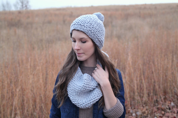 Matching Knit Cowl and Beanie Set in Cool Gray