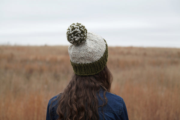 Two-Color Chunky Knit Beanie in Sage and Oatmeal