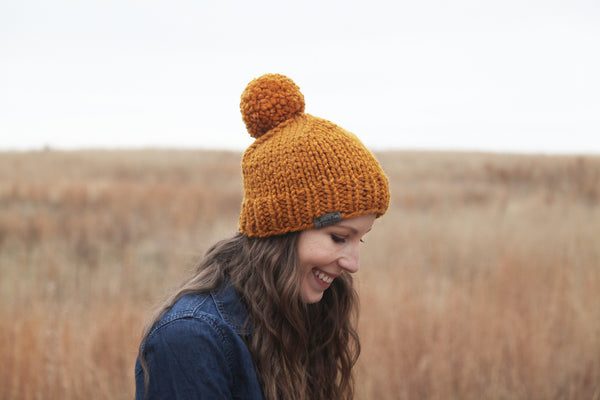 Classic Chunky Knit Beanie in Butterscotch