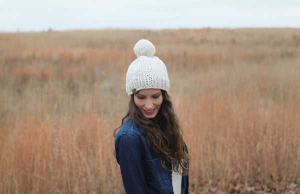 Classic Chunky Knit Beanie in Natural White
