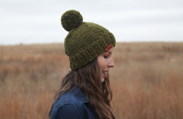Classic Chunky Knit Beanie in Sage