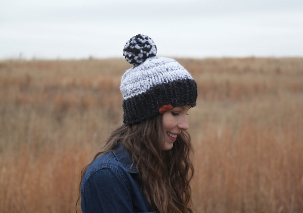 Two-Color Chunky Knit Beanie in Charcoal and Marble